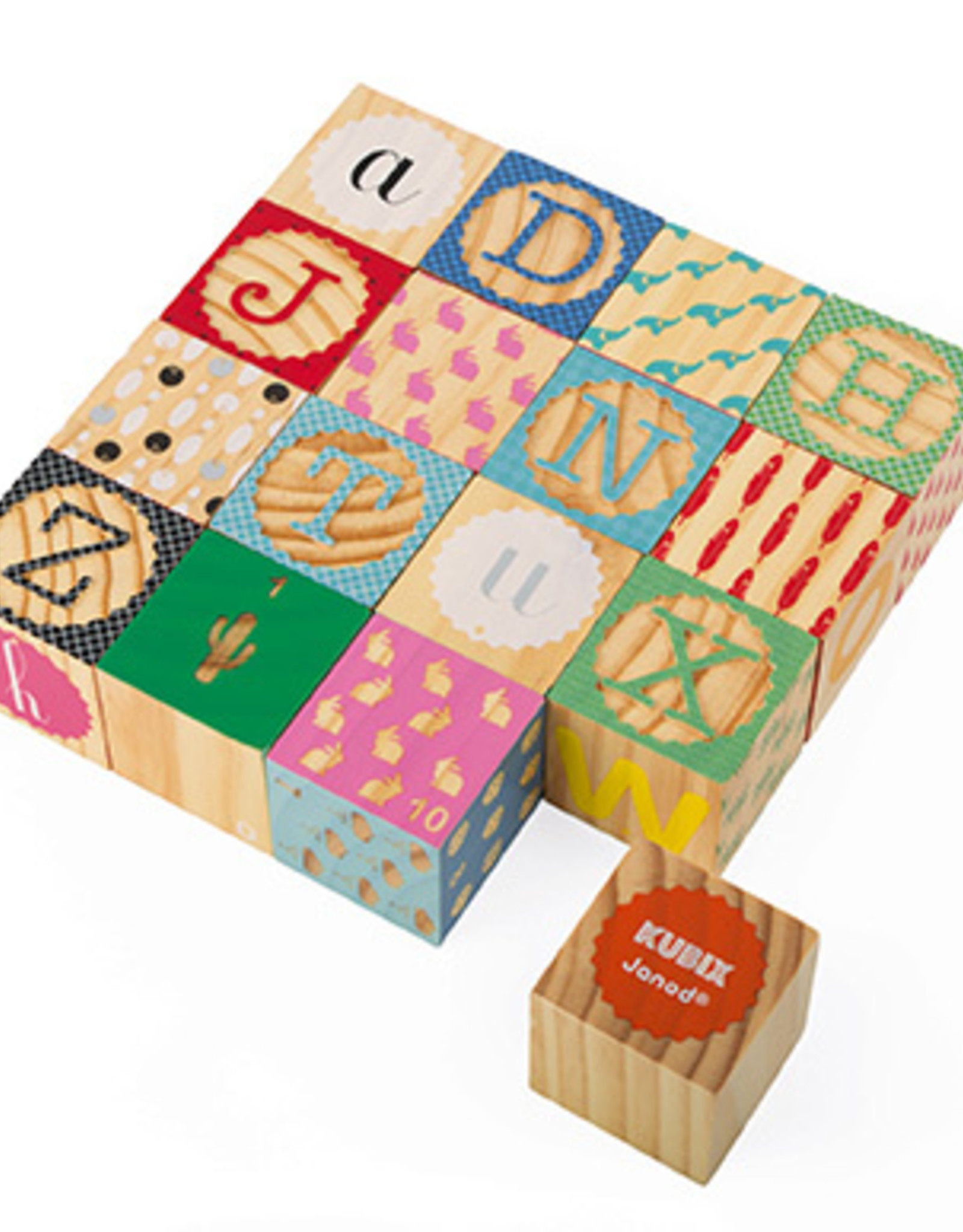 KUBIX - 16 CARVED ALPHABET BLOCKS