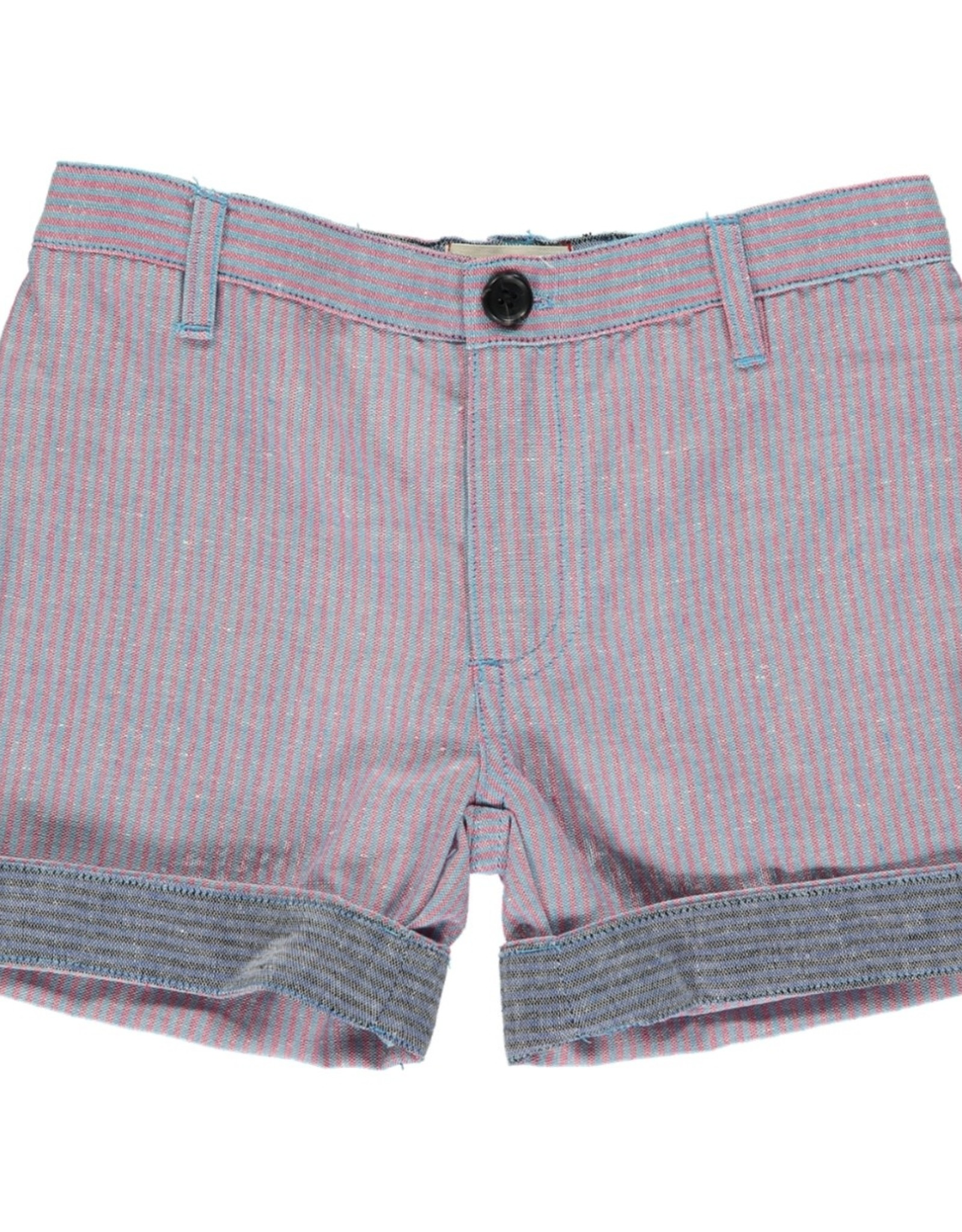 Blue/red stripe turn up shorts