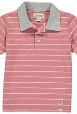 Red/white stripe jersey polo