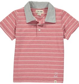 Red/white stripe jersey polo