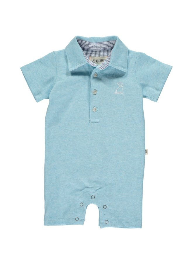 Aqua cotton pique polo romper