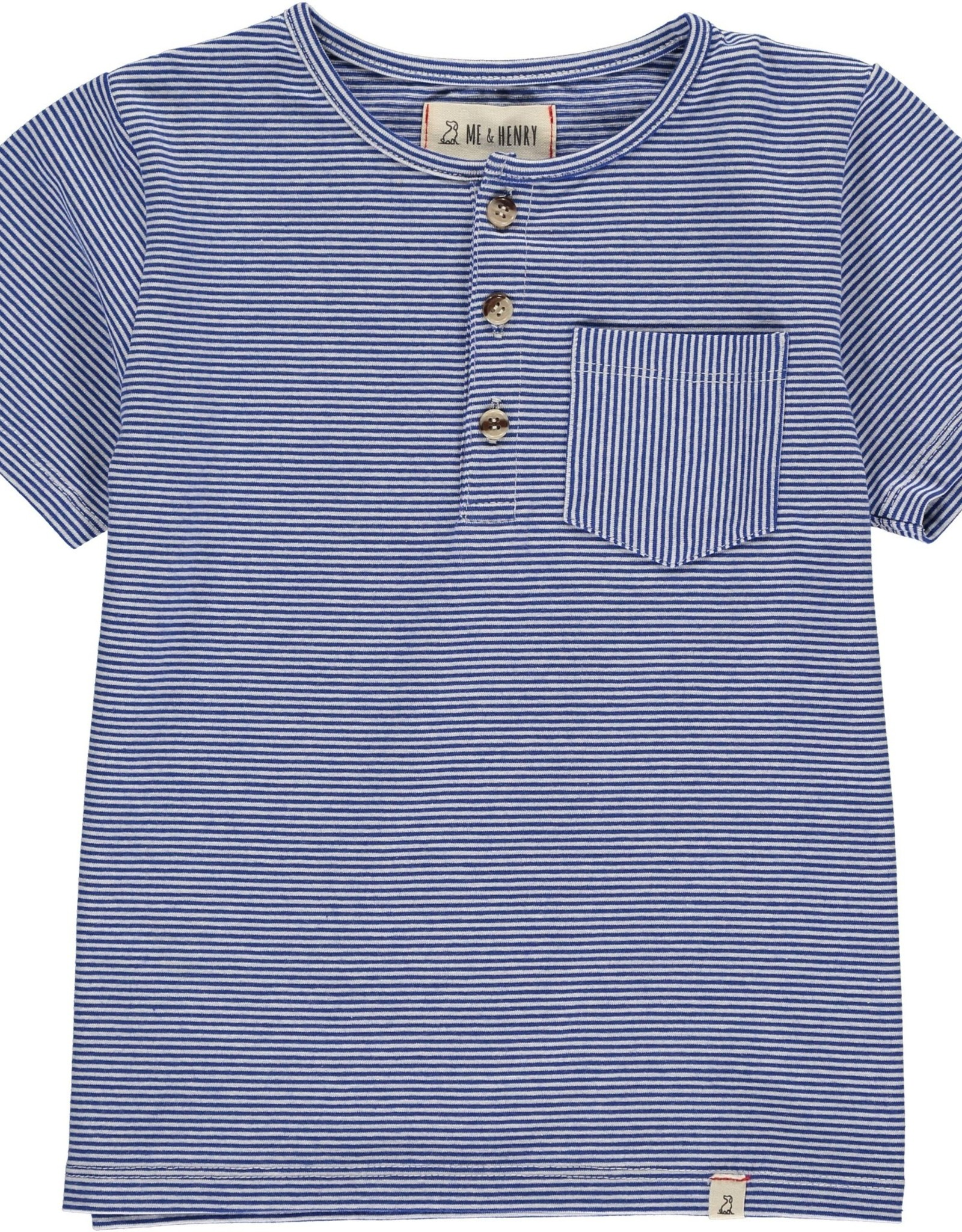 Blue/white Henley tee