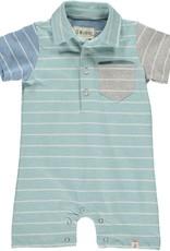 Turq/multi stripe jersey romper