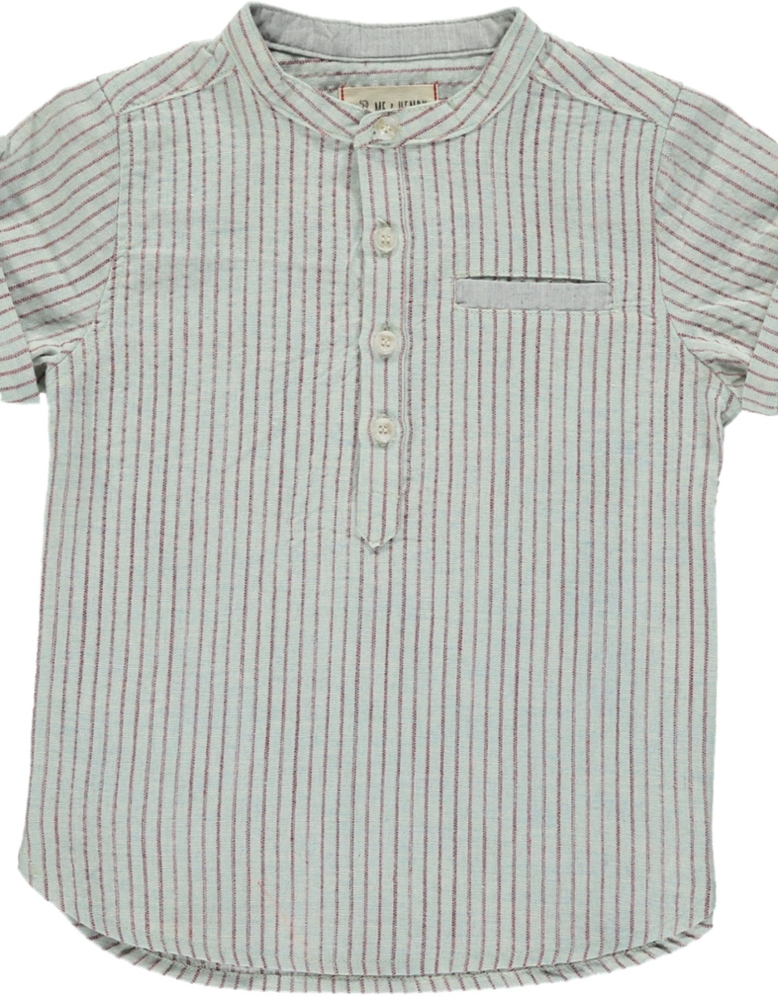 Aqua/red stripe round neck s/s shirt