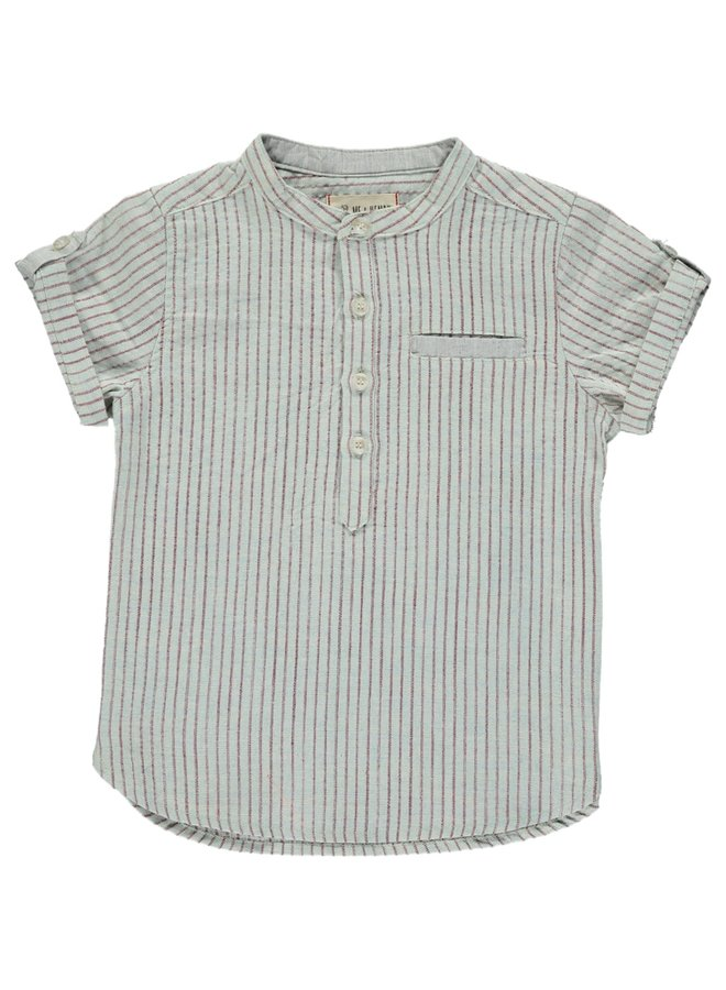 Aqua/red stripe round neck s/s shirt