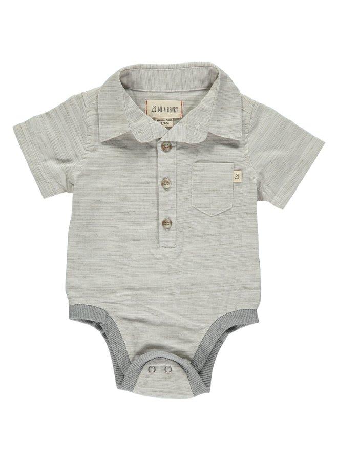 Grey/white fleck woven body