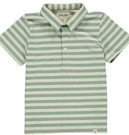 Green/cream stripe polo