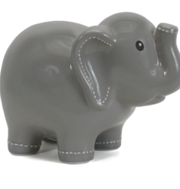 Child to Cherish Large Stitched Elephant Bank - Grey