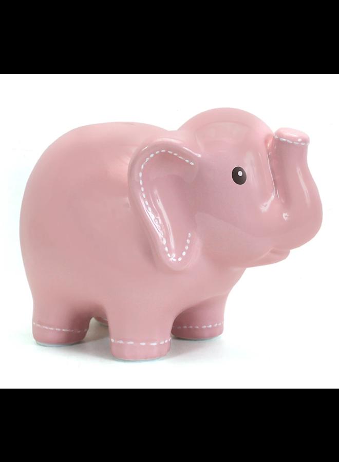 Large Stitched Elephant Bank - Pink