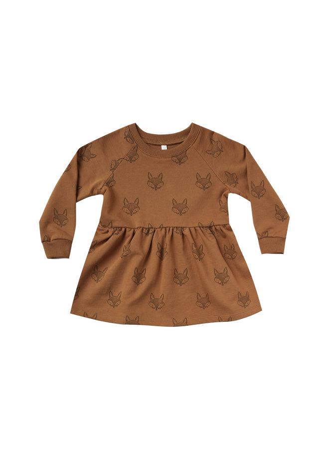 Fox Raglan Dress - Cinnamon