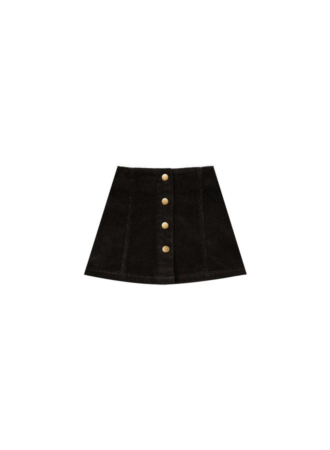 Corduroy Mini Skirt - Vintage Black