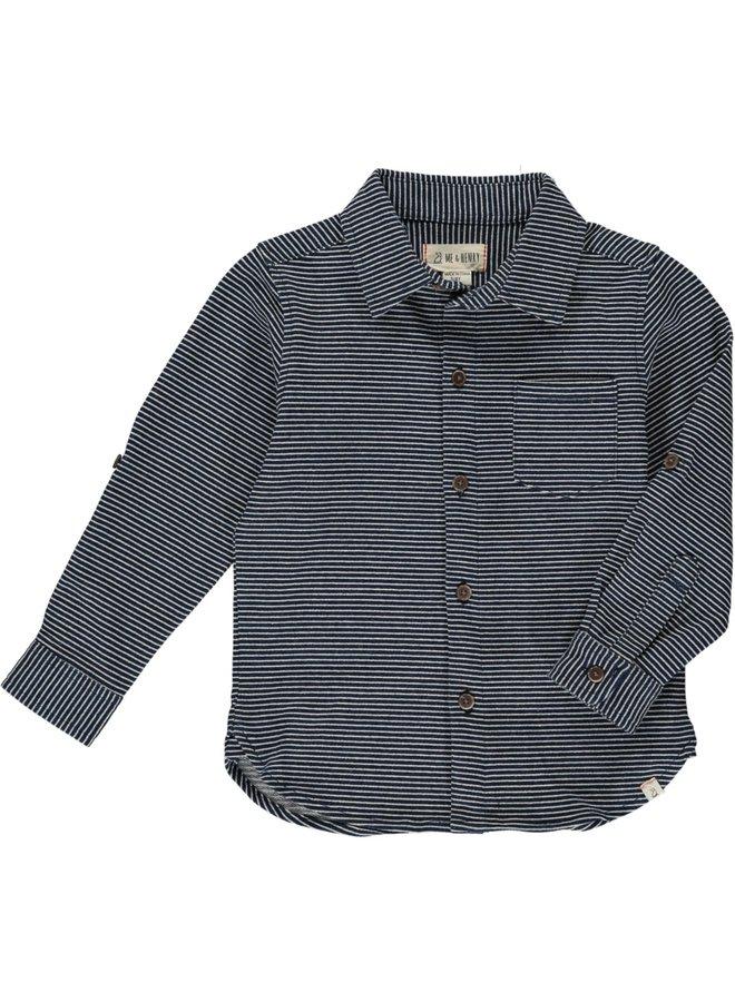Blue/ White Stripe Jersey Button Down