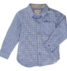 Blue Grid Button Down