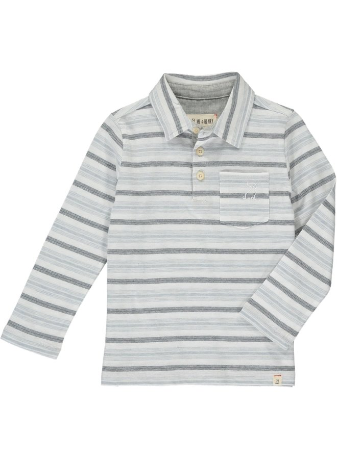 Grey Multi Striped Polo