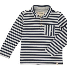 Navy/ White Striped Polo