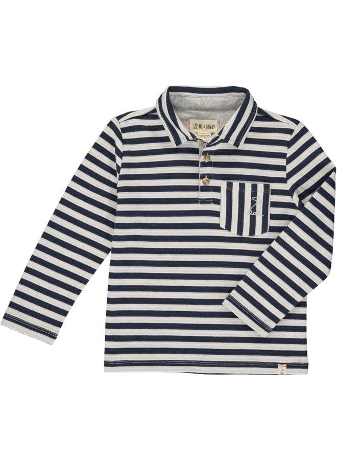 Navy/ White Striped Polo