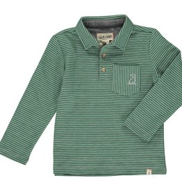 Green Striped Long Sleeve Polo