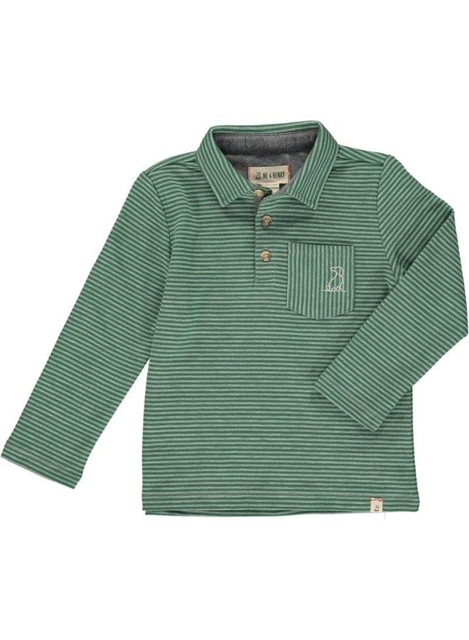 Green Striped Long Sleeve Polo