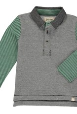 Green/ Black Stripe Rugby Polo