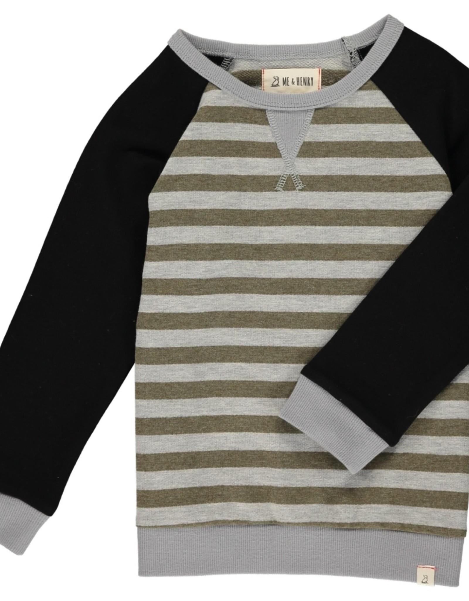 Beige/ Grey Stripe Raglan Sweatshirt