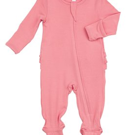 Solid Pink Basics Ruffle Back Footie