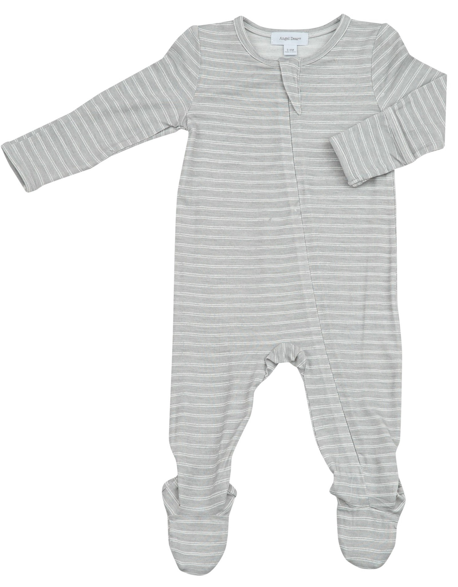 Gray Stripe Hippo Zipper Footie