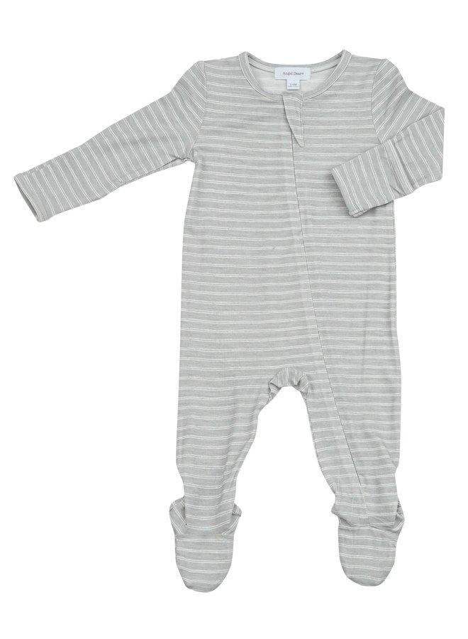 Gray Stripe Hippo Zipper Footie