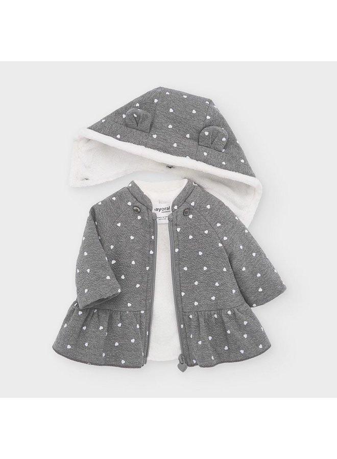 Gray Heart Peplum Jacket