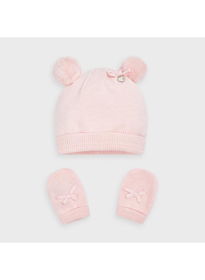 Pink Bow Hat & Mitten Set