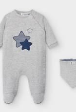 Indigo Star Gray Footie & Bib Set