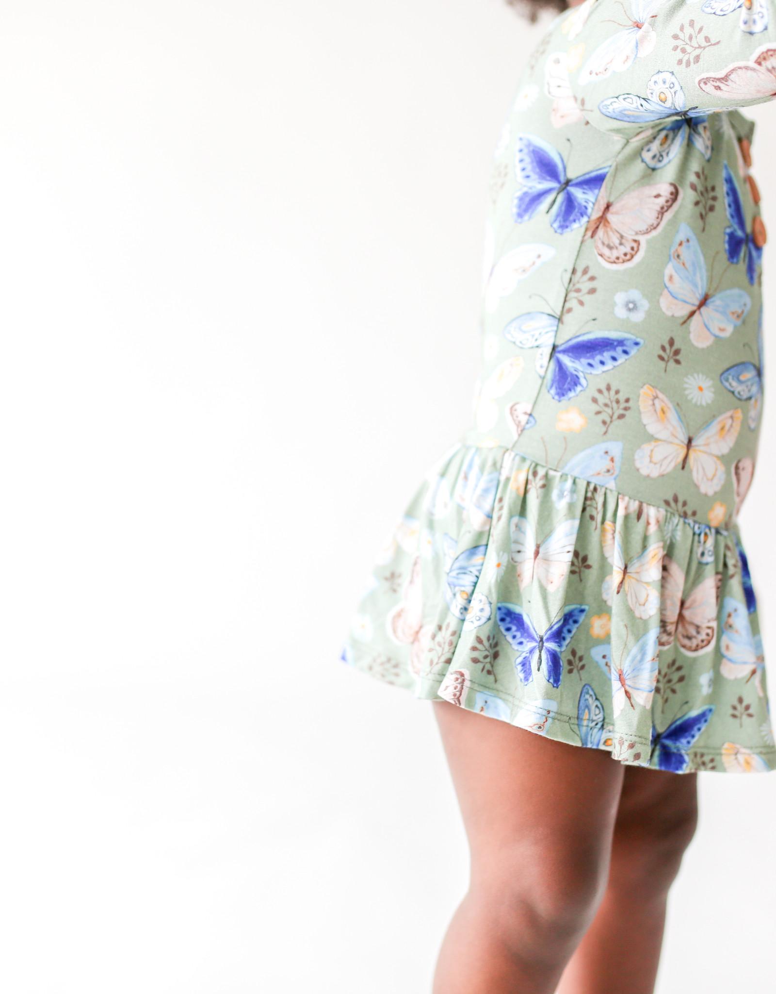 Lucy - Long Sleeve Henley with Twirl Skirt Bodysuit