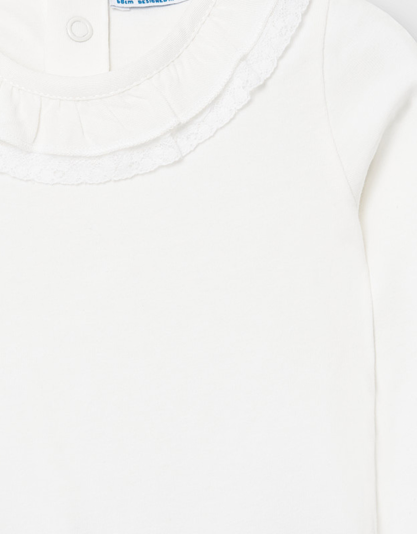 Cream Ruffle Lace Neck Bodysuit