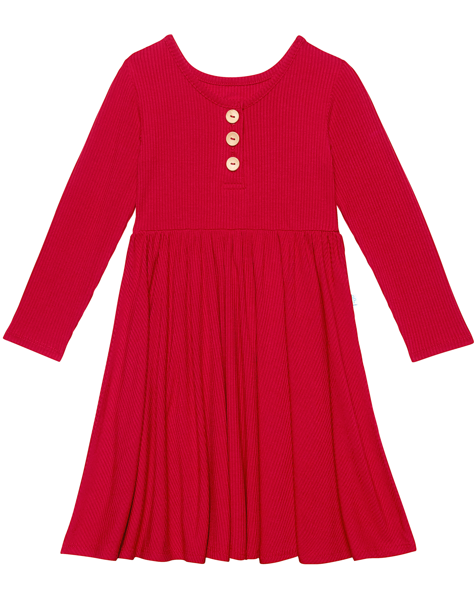 Crimson Ribbed - Lounge Sleeve Henley Twirl Dress