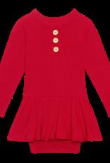 Crimson Ribbed - Long Sleeve Henley Twirl Skirt Bodysuit