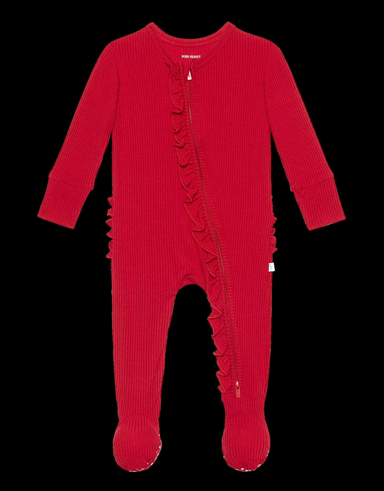 Crimson Ribbed - Zippered Ruffled Footie