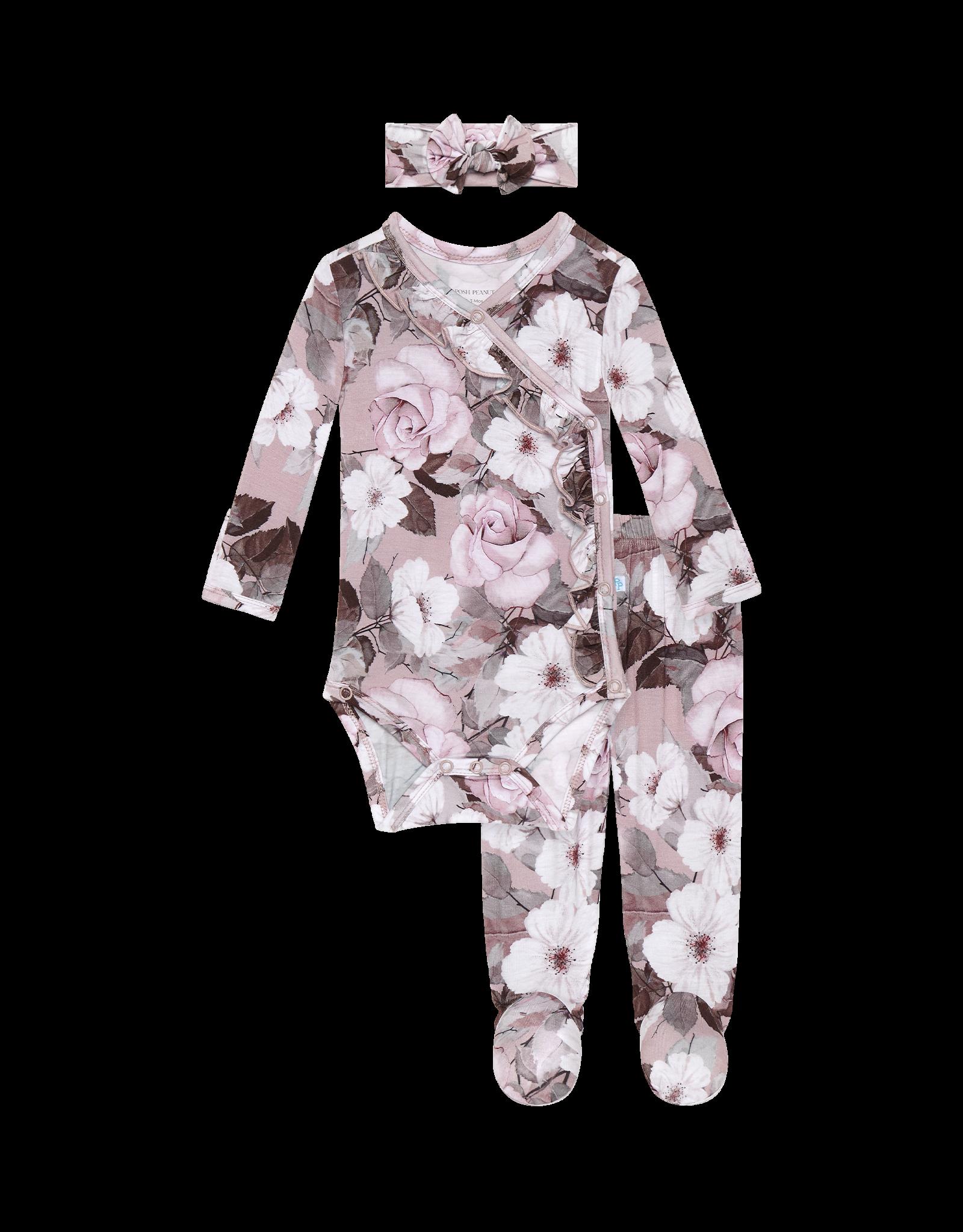 Nikki - Ruffled Kimono Set/Footie Pants/Headwrap