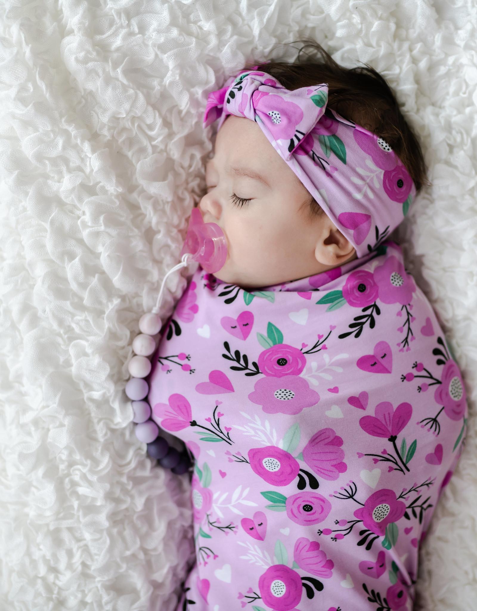 Little Sleepies Sweetheart Floral Swaddle & Headband