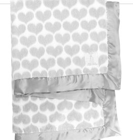 Little Giraffe Luxe Heart Army Blanket - Silver