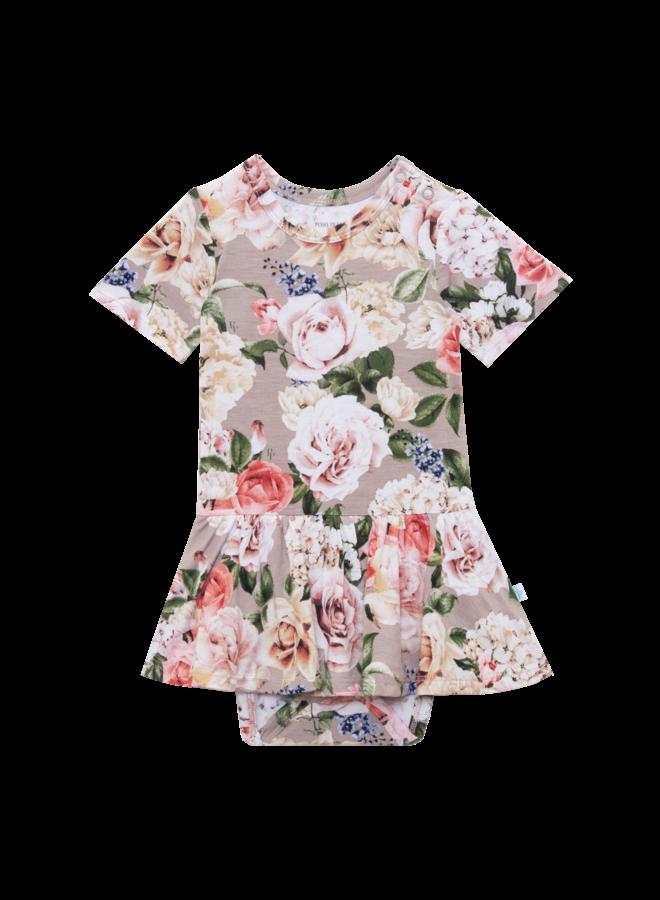 Cassie - Long Sleeve Henley Twirl Skirt Bodysuit