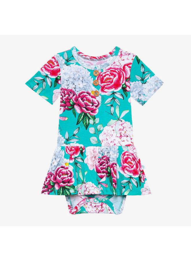 Eloise - Short Sleeve Henley Twirl Skirt Bodysuit
