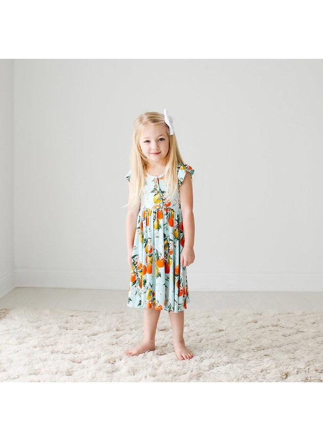Mirabella - Ruffled Capsleeve Henley Twirl Dress