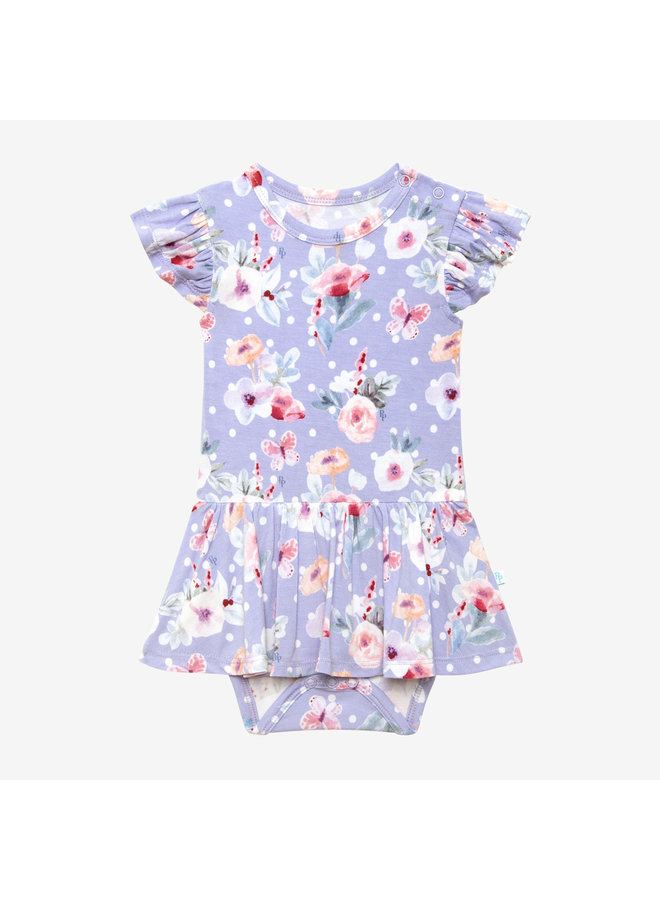 Samantha - Ruffled Capsleeve Basic Twirl Skirt Bodysuit