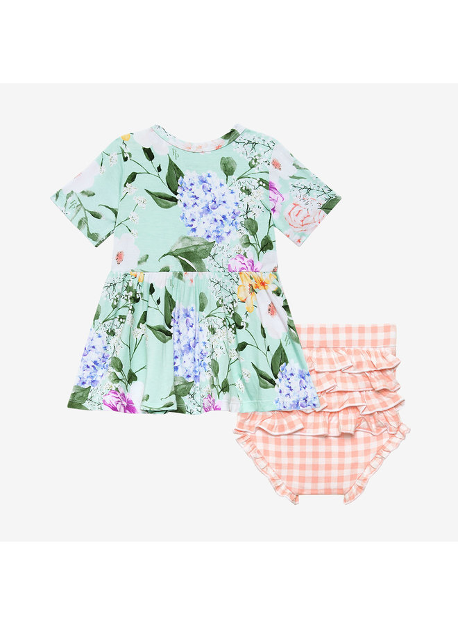 Erin - Short Sleeve Basic Peplum Top & Bloomer Set