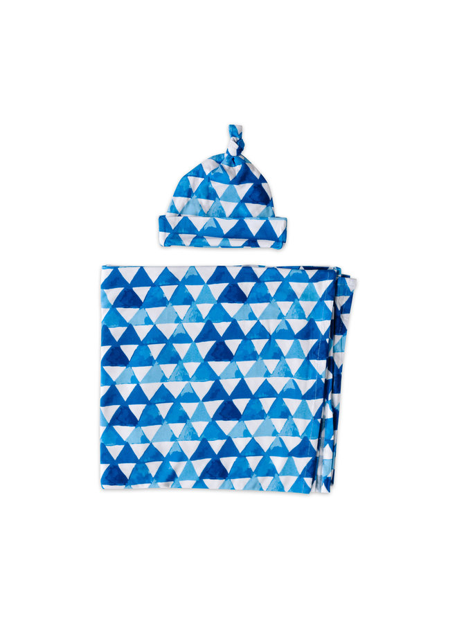 Horizon Triangles Swaddle & Hat Gift Set