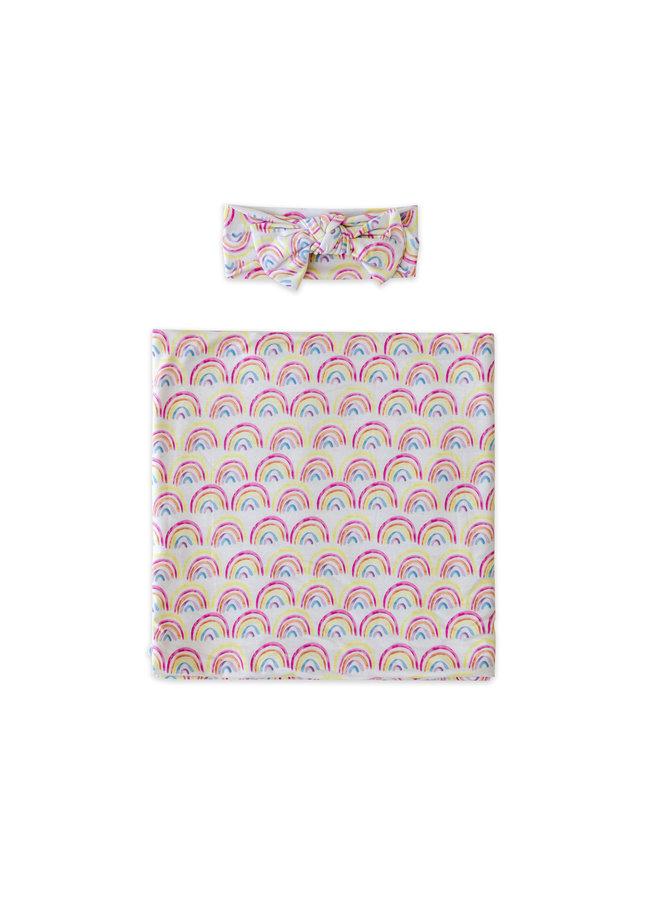Pastel Rainbows Swaddle & Headband Gift Set