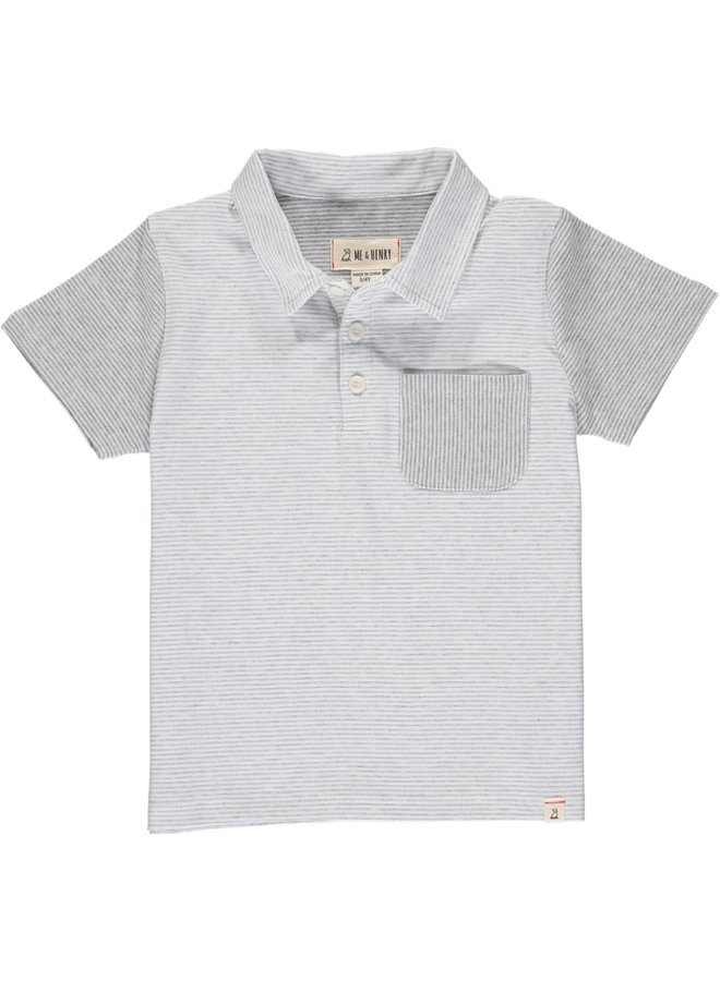 HALYARD polo - Grey/White Micro Stripe
