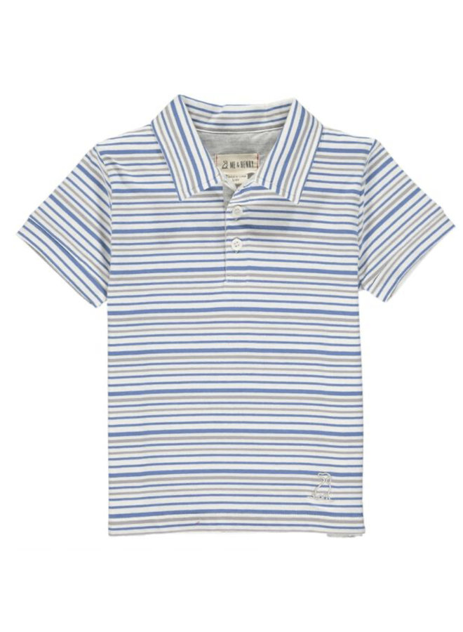 SCUPPER polo - Blue/grey/white stripe