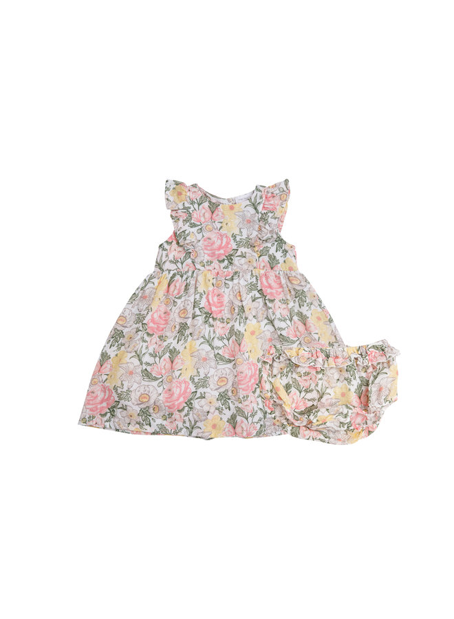 Traditional Floral Dress & Diaper Cover