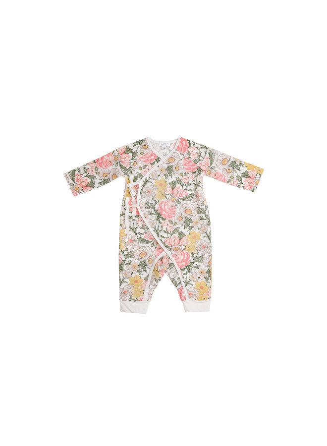 Traditional Floral Wrap Coverall