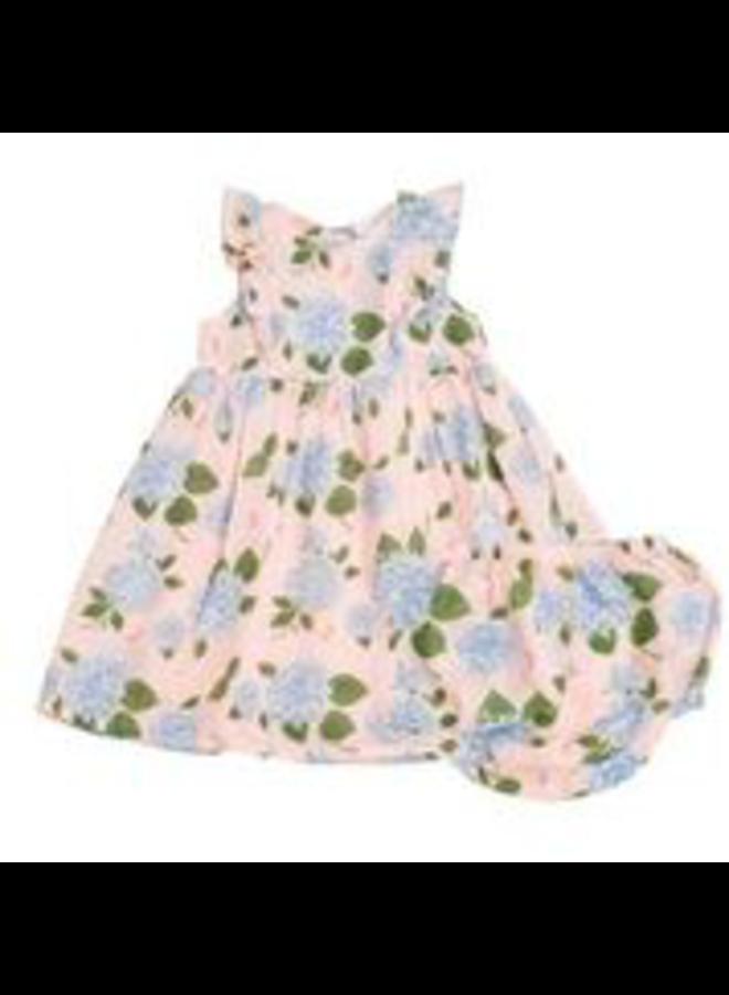 Hydrangea Kimono Dress & Diaper Cover - Pink
